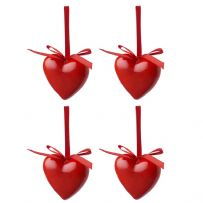 Assorted Packs of Festive Christmas Heart Decorations - Christmas Tree Decorations
